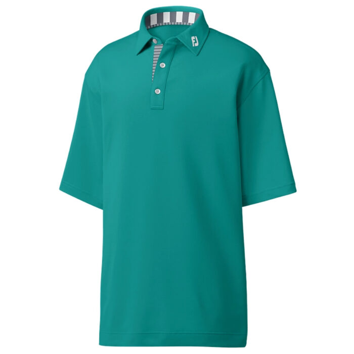FootJoy Athletic Fit Solid Pique With Stripe Trim - Emerald